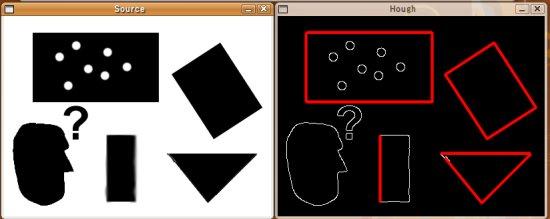 OpenCV: ハフ変換による直線検出のサンプルプログラム