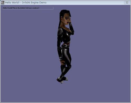 01.HellowWorld.exeの画面.中央で踊っているのはシドニー嬢.