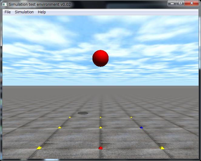 落下する赤い球