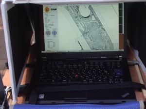 ロボット走行中の画面: ThinkPad T400 と開発したGUI