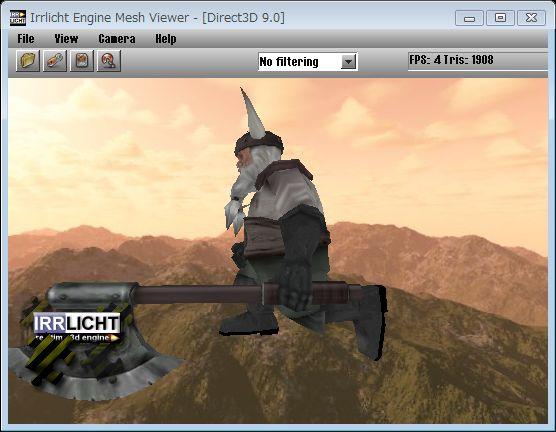 Irrlicht付属meshviewer.exeのスクリーンショット